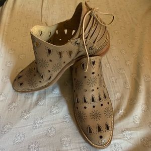 Beautiful Leather Cut Out Booties